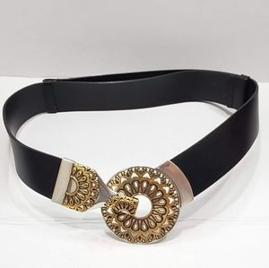 Chico's Leather Decorated Round Metal Hook Belt